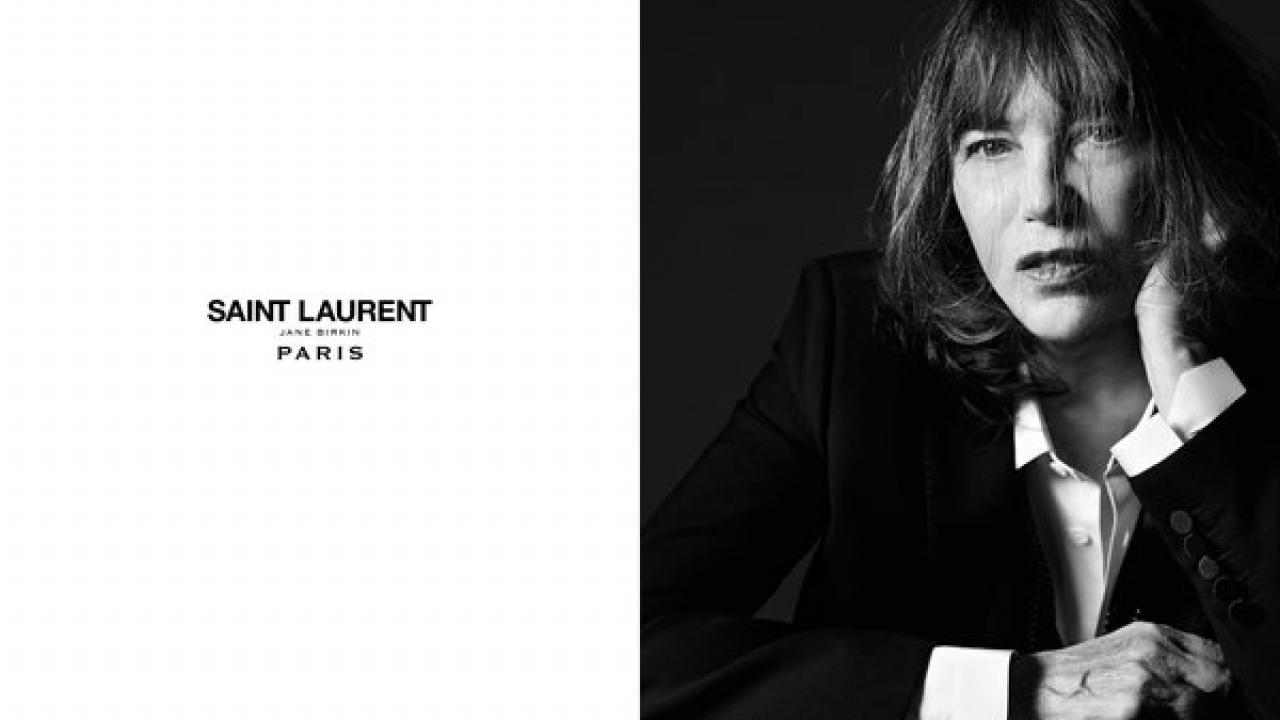 52b93e3a3795 Jane Birkin prend la pose pour Saint Laurent