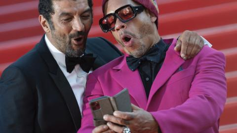 Cannes 2021: JoeyStarr and Ramzy Bedia during the climb of the steps of This music does not play for anyone, by Samuel Benchetrit