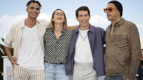 Cannes 2021: Théo Christine, Audrey Estrugo, Sandor Funtek and JoeyStarr during the photocall of the biopic of NTM, Suprêmes