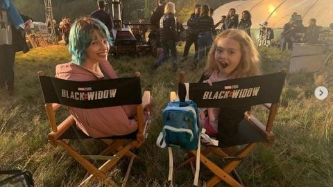 """Ever Anderson shares behind-the-scenes photos from Black Widow: """"Here I am with my movie sister, Violet McGraw ..."""""""