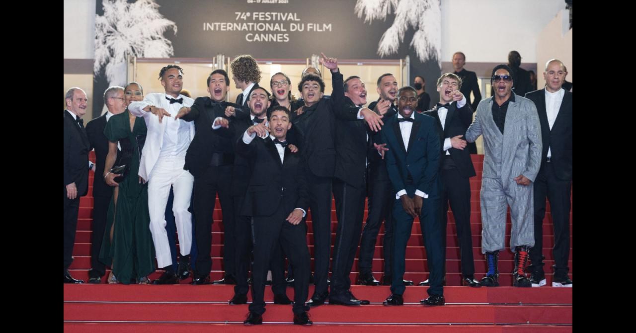 Cannes 2021: JoeyStarr and all the Suprêmes team during the red carpet