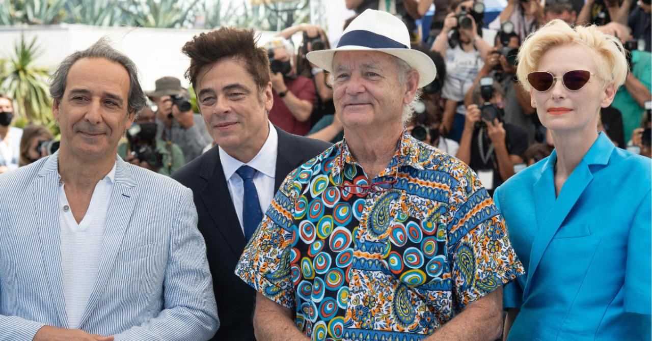 Cannes 2021: Alexandre Desplat, Benicio Del Toro, Bill Murray and Tilda Swinton at the photocall of The French Dispatch
